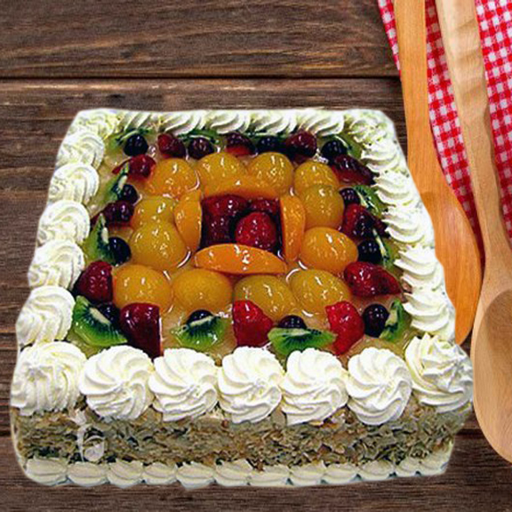 Remarkable Square Shape Mix Fruit Cake Flocakes Funny Birthday Cards Online Alyptdamsfinfo